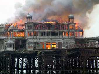 West Pier on fire
