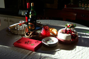 Table with Christmas cake