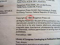 Copyright date circled in book