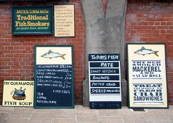 Signs at fish shop