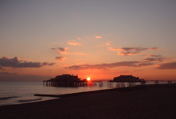 Sunset behind the West Pier