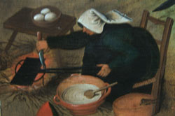 Woman making waffles in a Bruegel painting