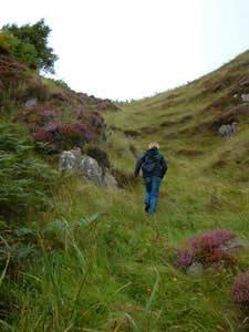 Cath climbing a hill