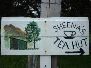 Sign for Sheena's Tea Hut