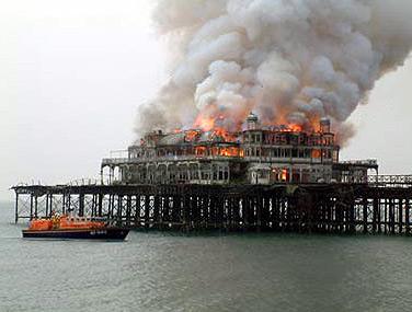 West Pier on fire